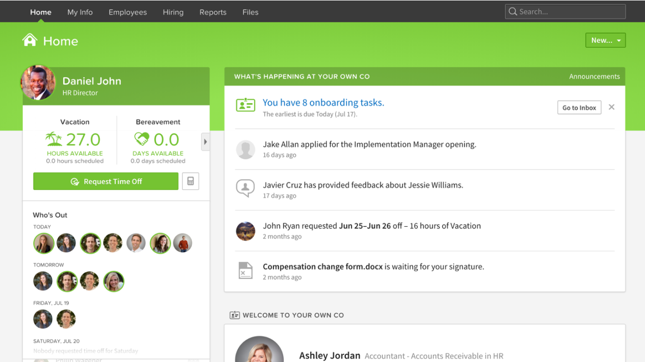 Screenshot of the BambooHR Dashboard