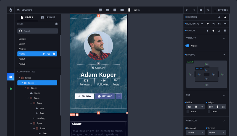 How to build a white label front end template for social network apps in the short term in a low code development platform