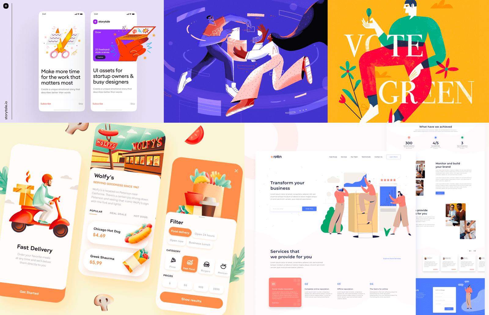 Illustrations used in UX/UI design