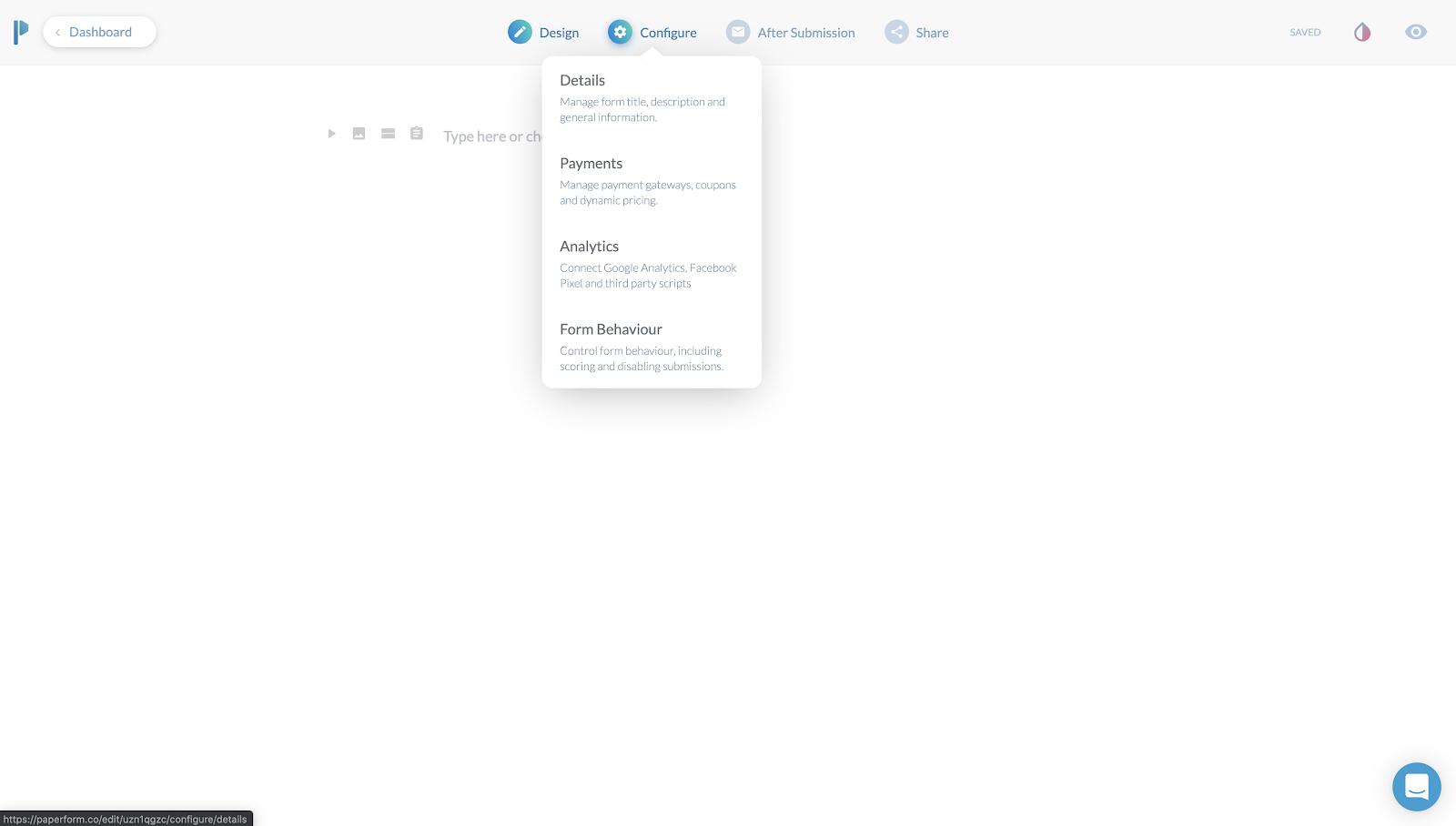 Paperform online builder