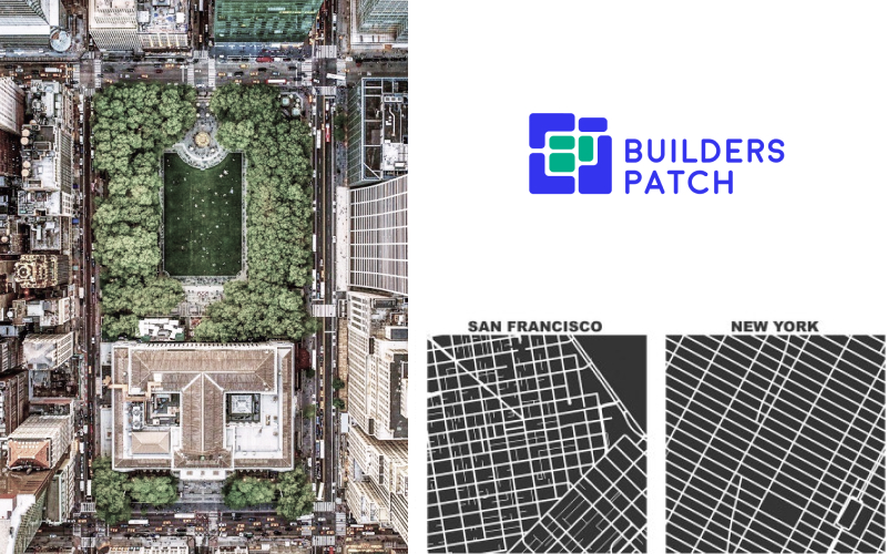 Old logo of Builders Patch between 2017 and 2019 with visual representation of a city grid and an aerial photograph of Bryant's Park and the New York Public Library.