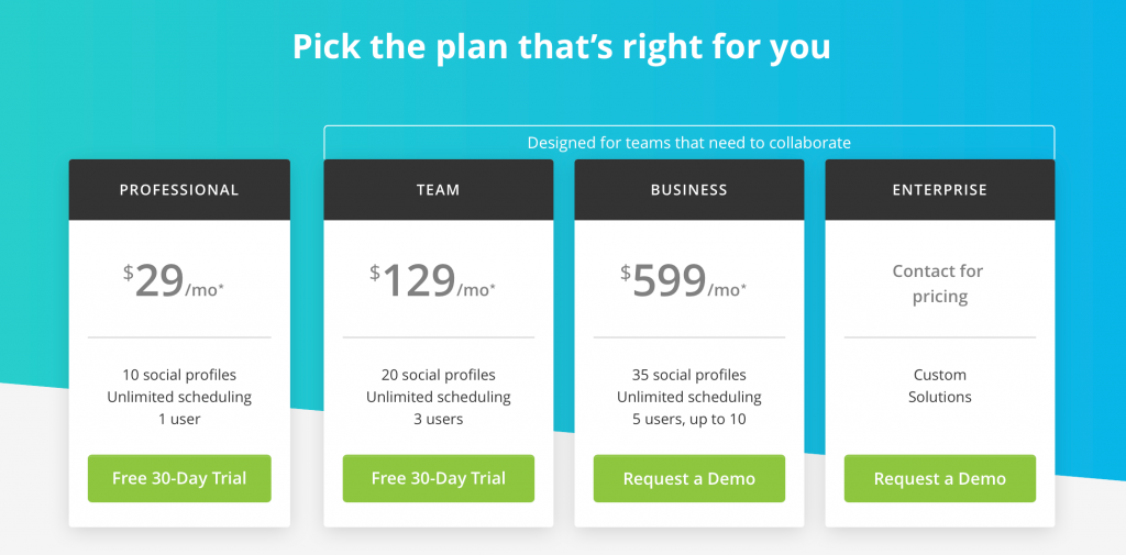 Hootsuite's Pricing Options
