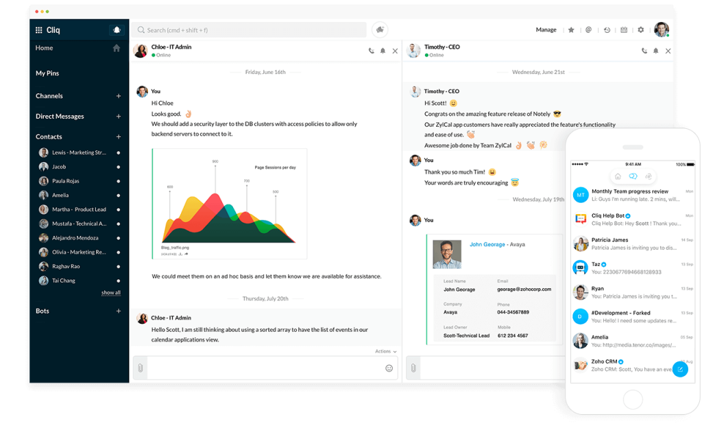 A screenshot of Zoho's Cliq