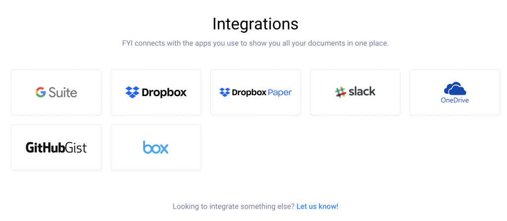 Current integrations offered by FYI