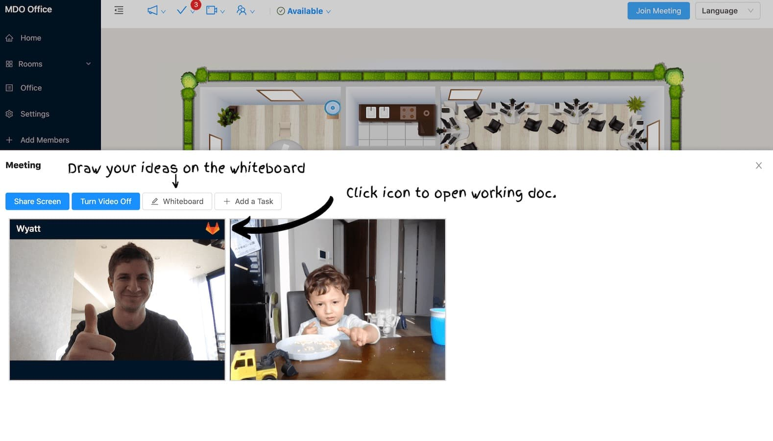 Launch a screen share session or a whiteboard with one click
