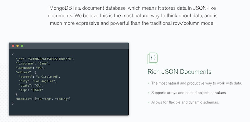 MongoDB stores data in JSON-like documents