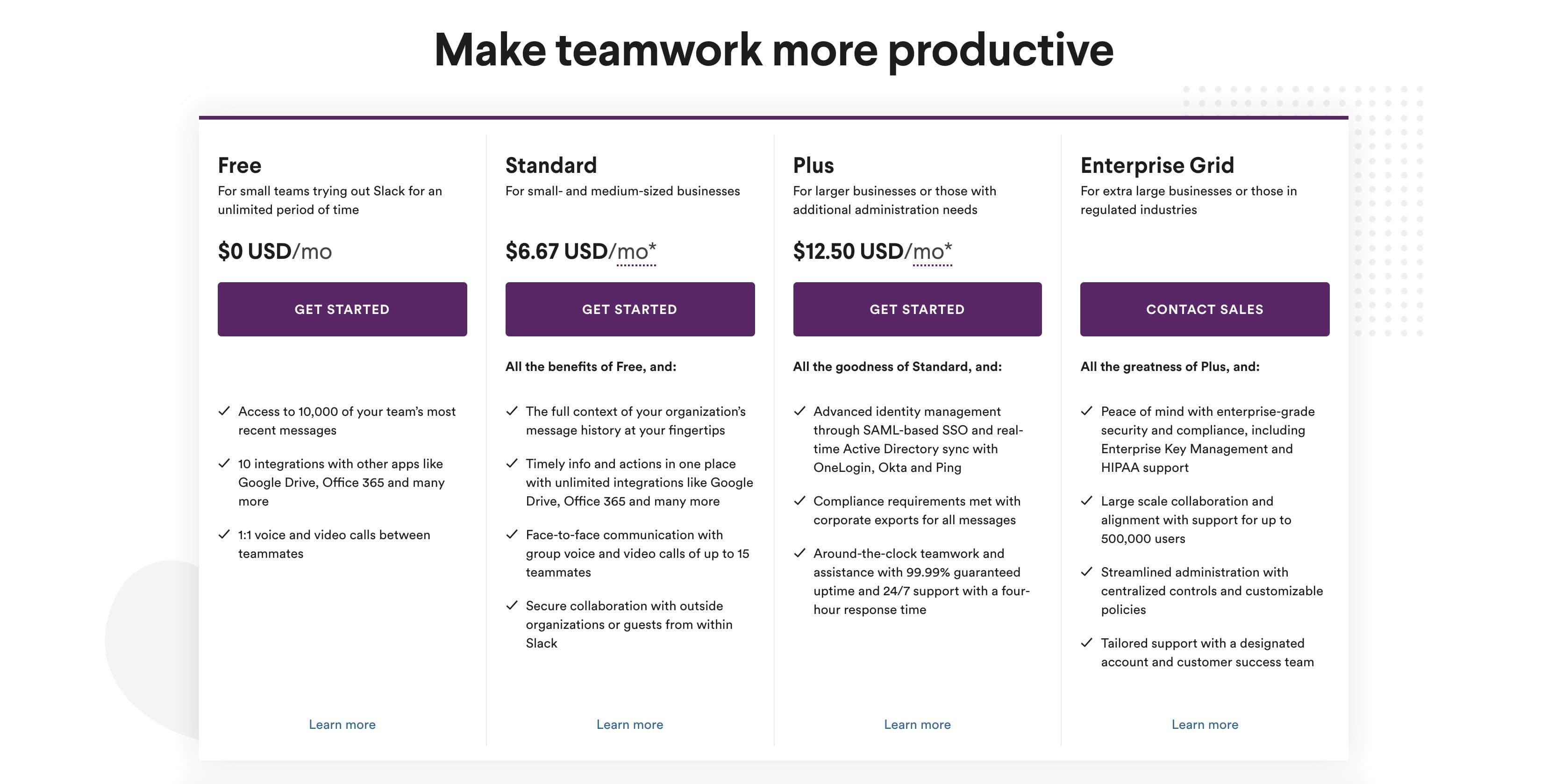 Slack's pricing page offers 3 plans plus an enterprise custom plan