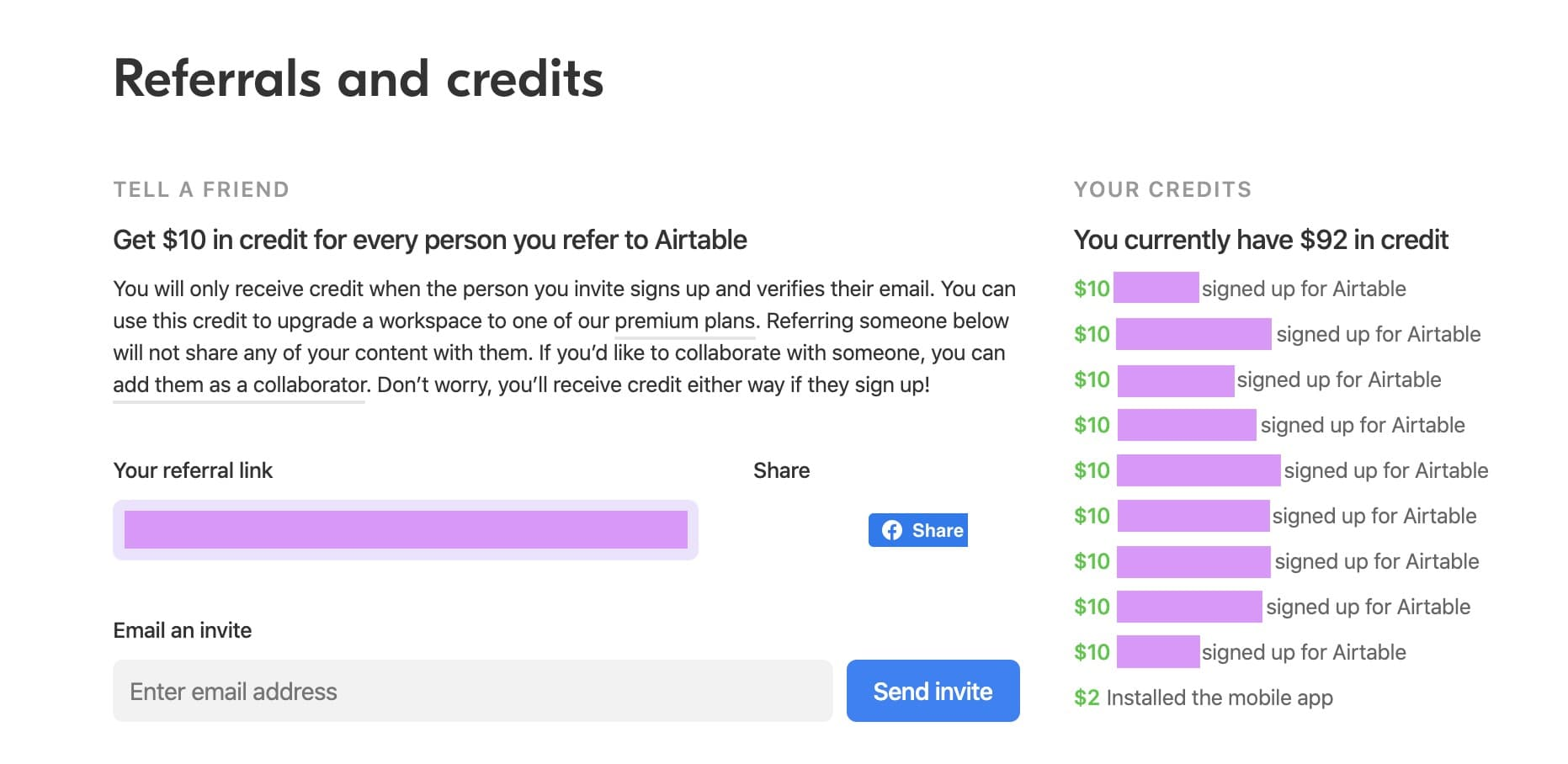 Airtable shows who you invited that earned you credits