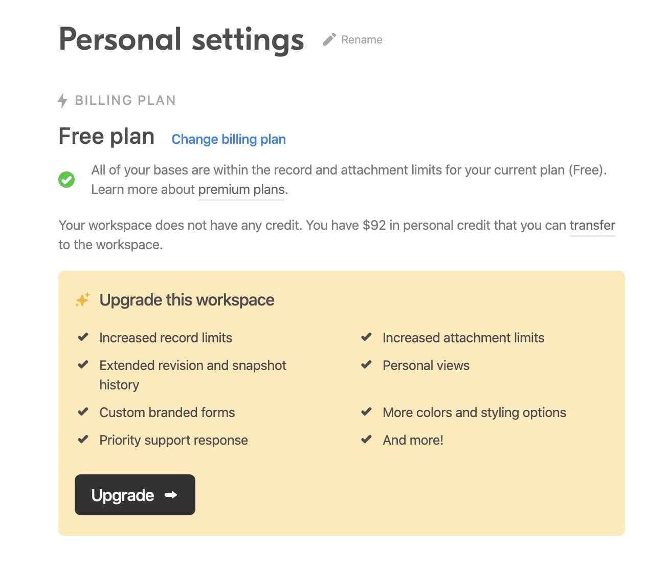 Workspace settings with a large call to action
