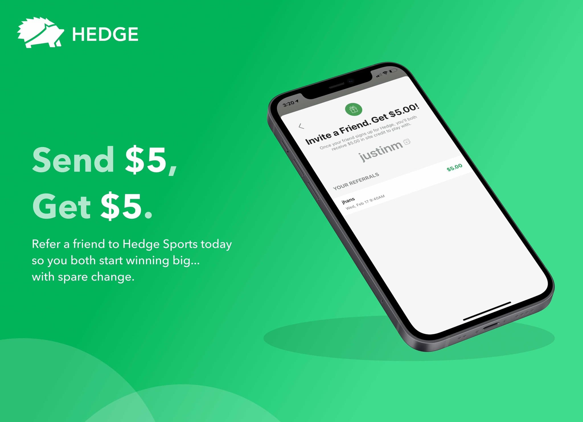Hedge is a Daily Fantasy Sports mobile application that connects your spare change round-ups (similar to Acorns) to different Fantasy Sports Contests.