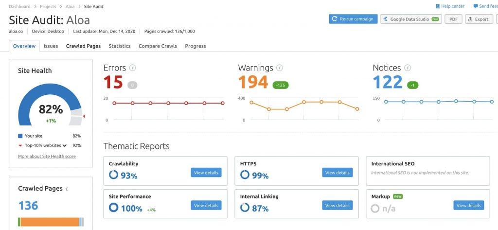 SEMRush Dashboard showing the site health score