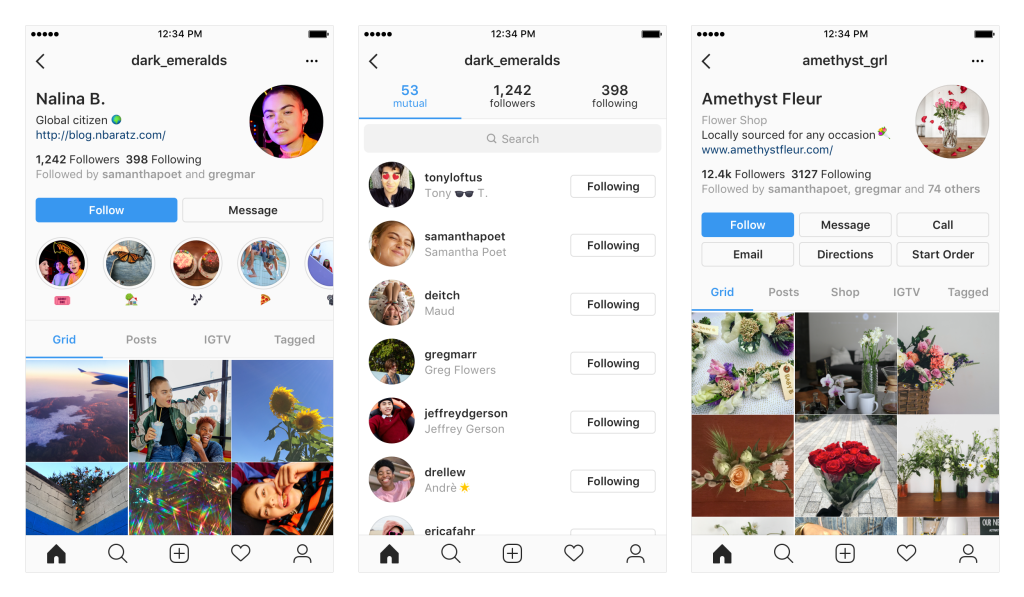 Instagram screenshots showing the new UI