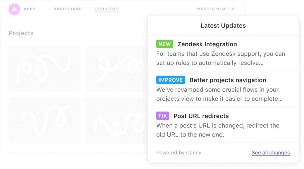 Canny changelog shows the most recent updates to your product