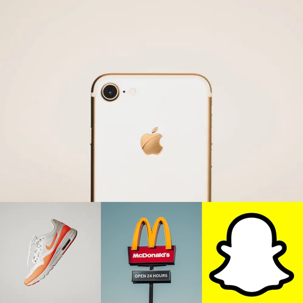 Apple's iPhone with iconic apple shaped logo, Nike shoe with swoosh, McDonald's golden arches sign, Snapchat's pale ghost logo