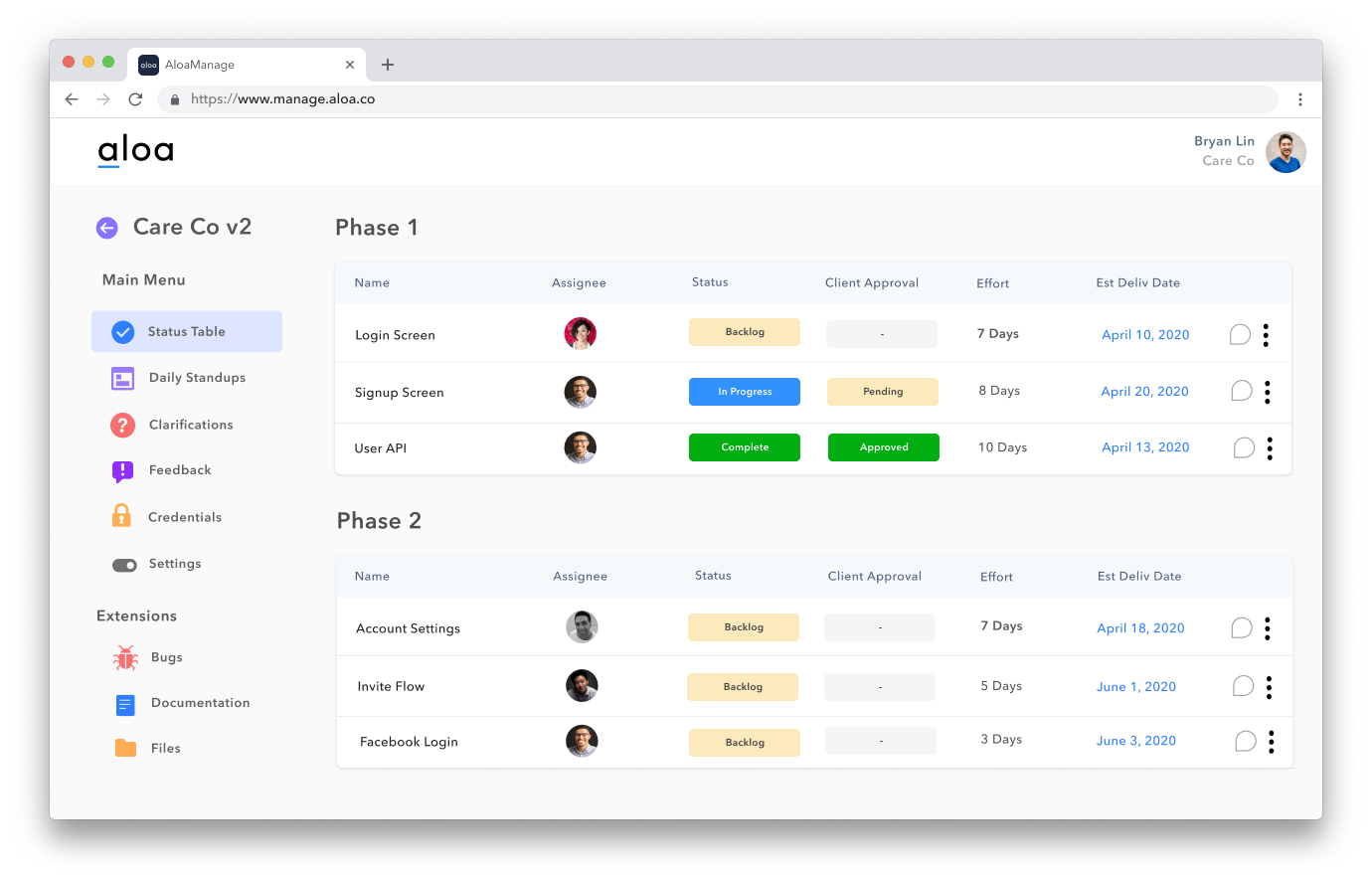 The status table shows a high-level client-facing view of the project.