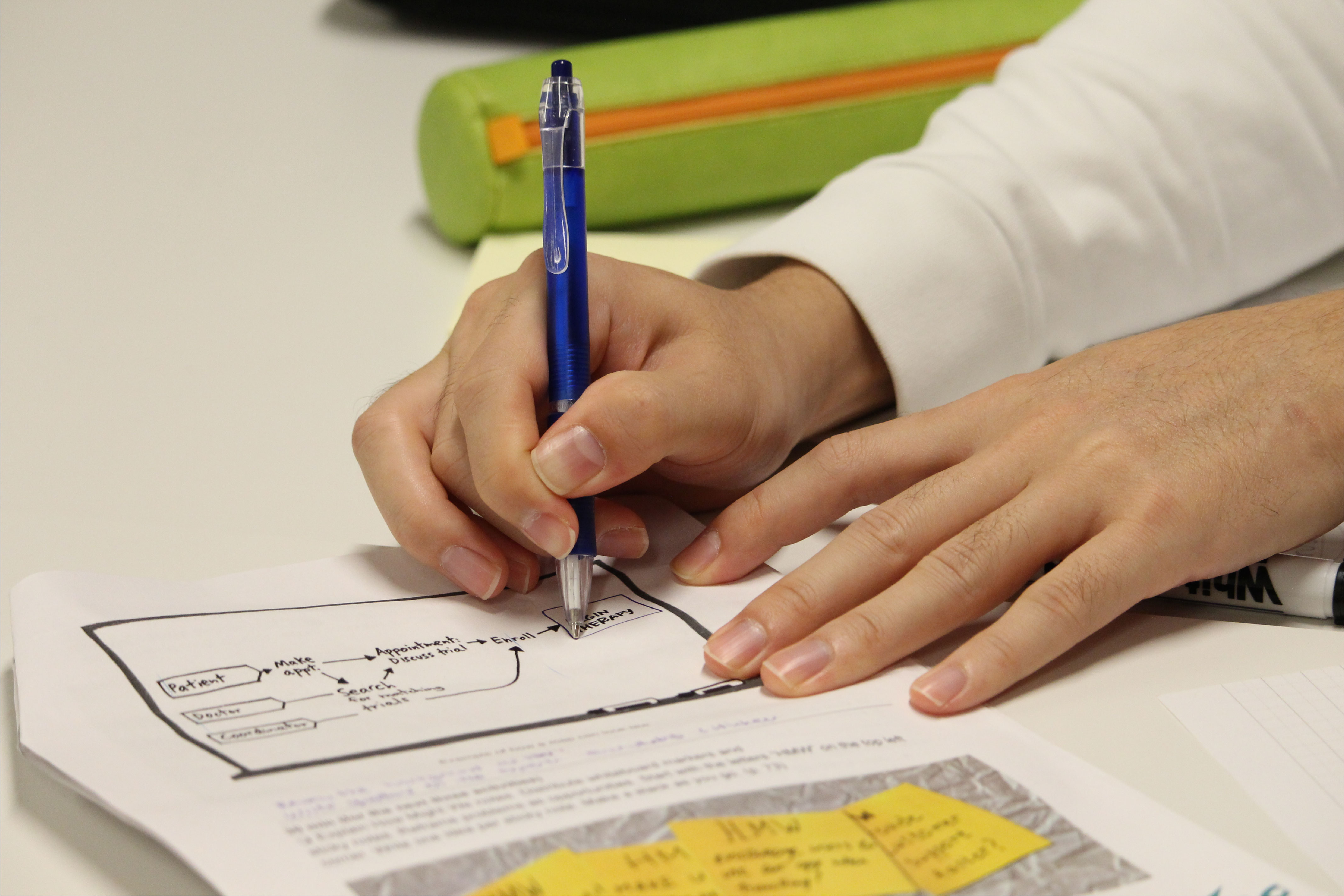 A student taking notes during a Design Sprint session