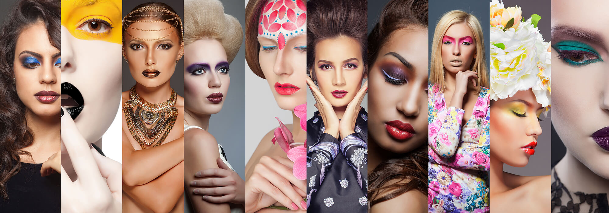 A panel of images showing different hairstyles and make-up
