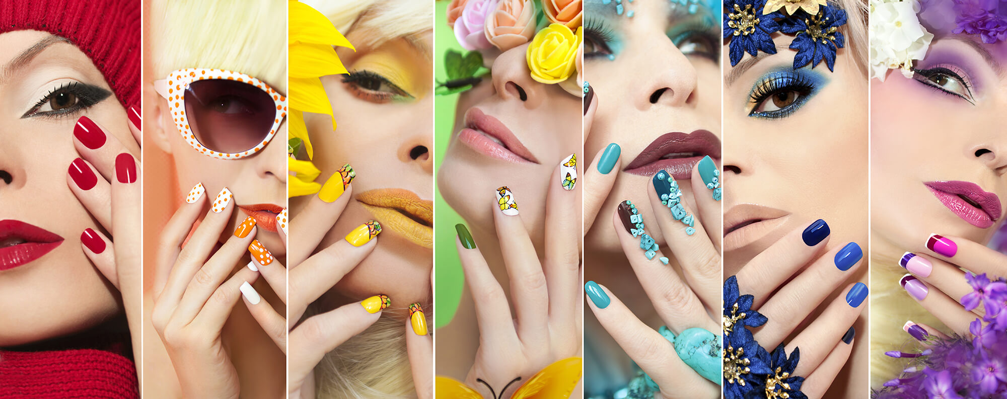 A panel of images showing artistic nail art in many colours