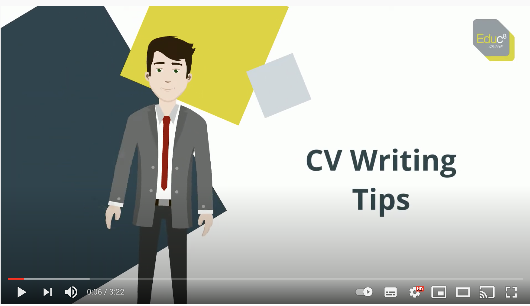 Image link to CV writing Tips Youtube video
