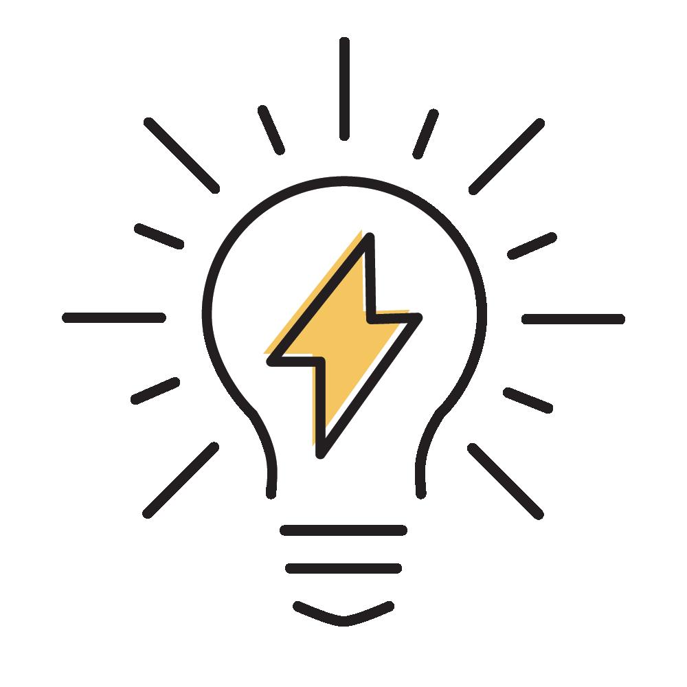Lightbulb with lightning bolt icon