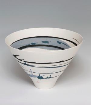 Ali Tomlin, Bowl with Blue Splashes, Thrown Porcelain, H 22cm. Courtesy of Ceramic Art London..jpg