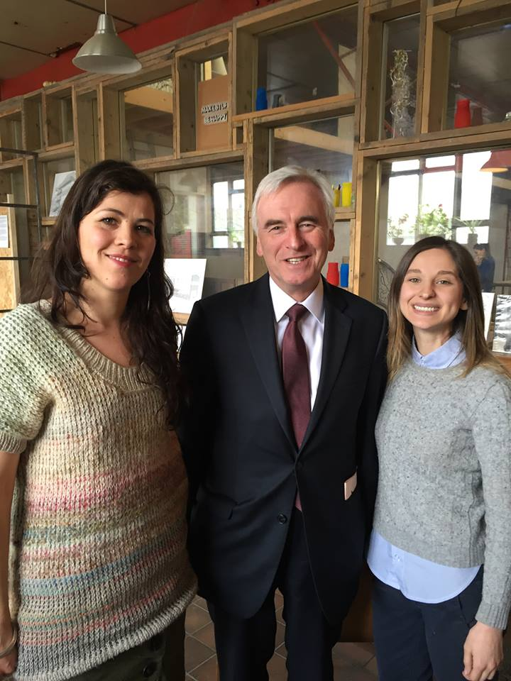 Turning Earth's Tallie Maughan with Shadow Chancellor John McDonnell and Liz Corbin, one of the founders of the Institute of Making and the Open Workshop Network
