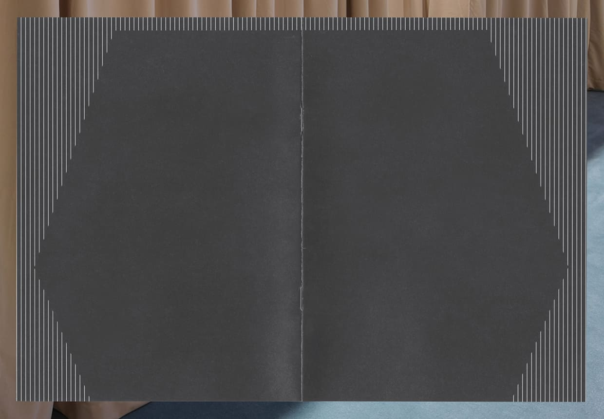 The front and back cover of a small exhibition catalog, played open, together forming an abstracted stage in the negative space of vertical white lines, resembling curtains.