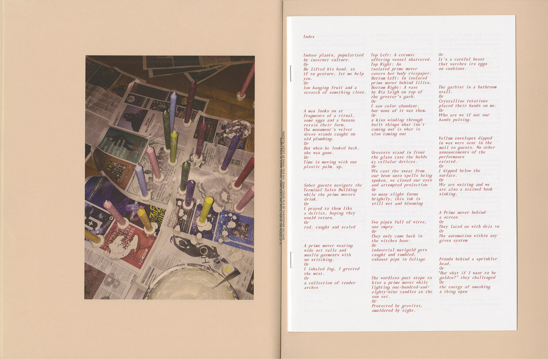 A book splayed open fills the frame, with an image of colorful candles on top of newspaper on the left, and on the right lays a smaller book consisting only of small red type, describing all of the images contained in the larger book.