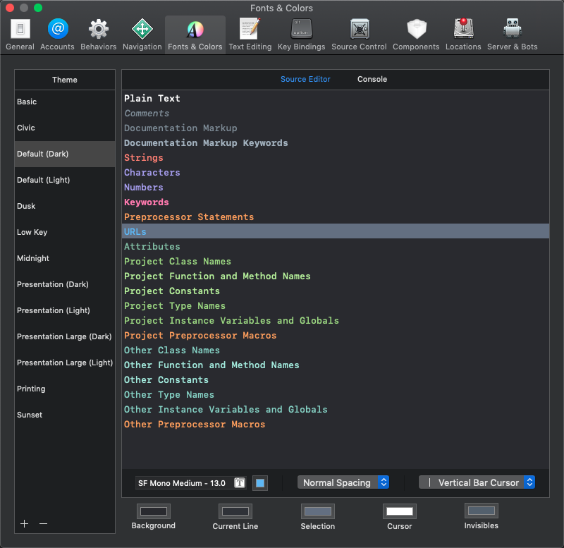 Xcode colour customisation