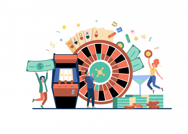 People playing poker and winning money Free Vector