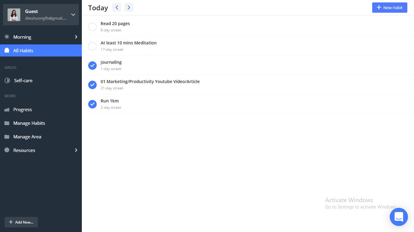 habit tracker app, web habit tracker