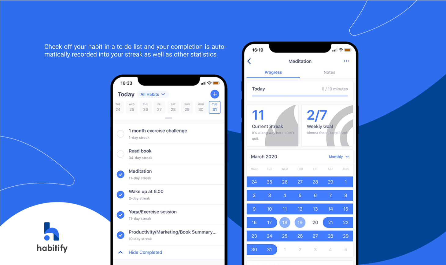 Habitify, best habit tracking app, automated habit tracker, habit tracker statistics, habit streak