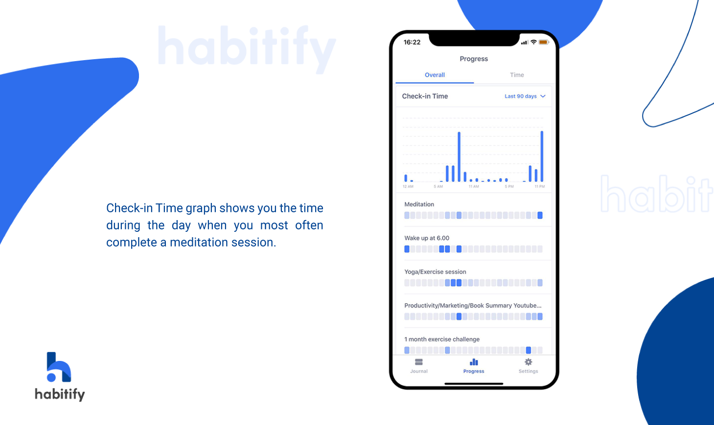 Habitify Check-in Time, Use check-in time for meditation habits