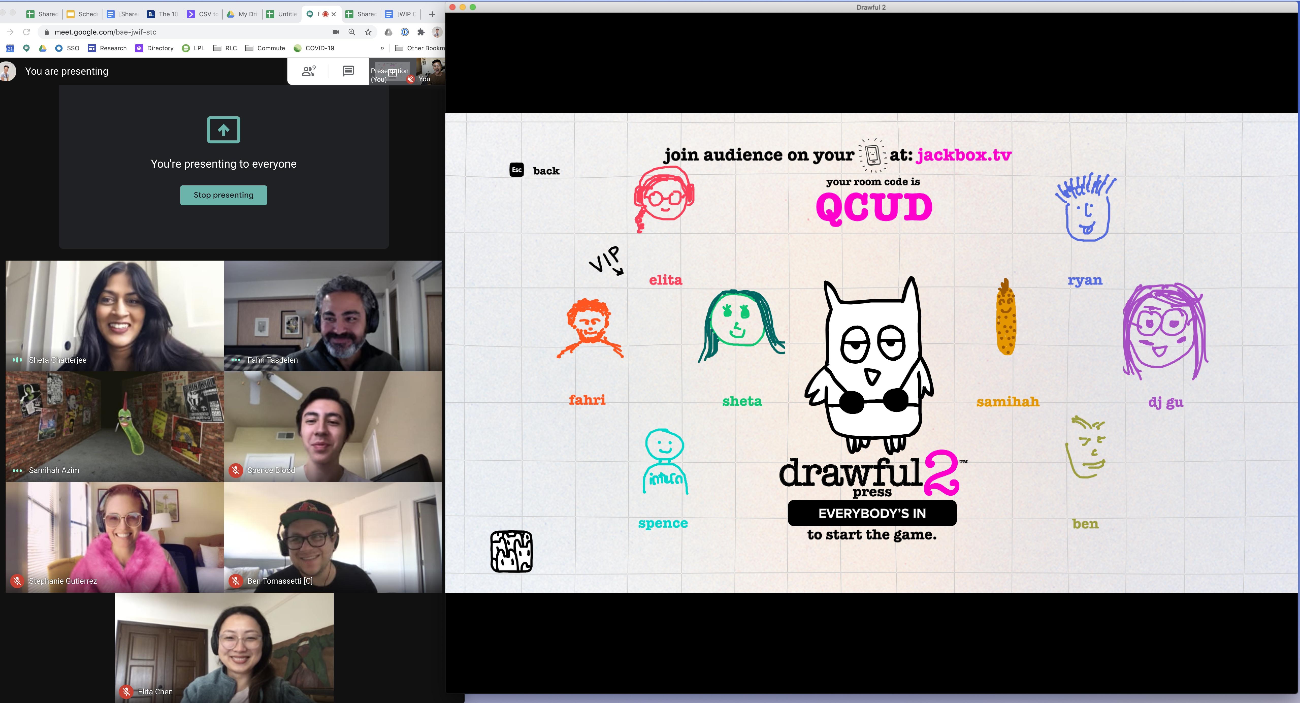 My design team playing drawful