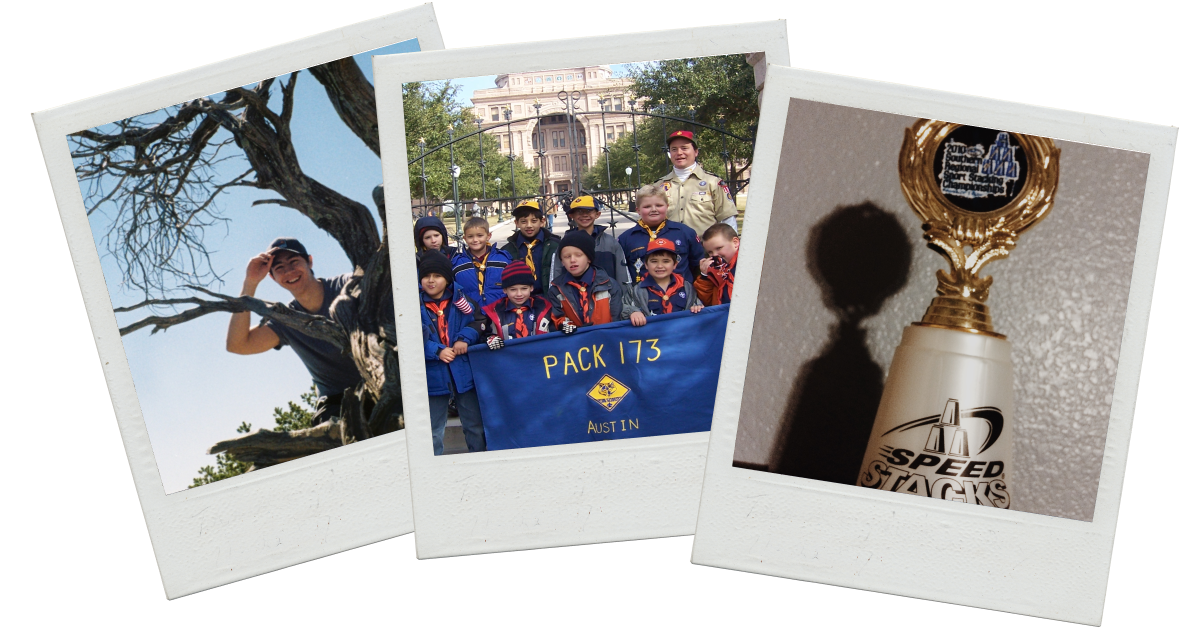 A stack of polaroids depicting me at Big Bend National Park, my boy scout troop in front of the Texas Capitol, and one of my old cup stacking trophies.
