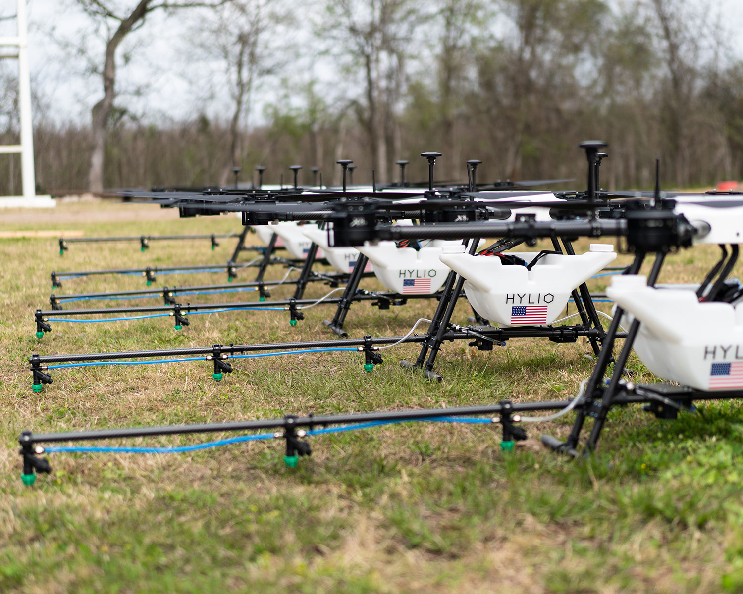 fleet of autonomous agriculture spray drones