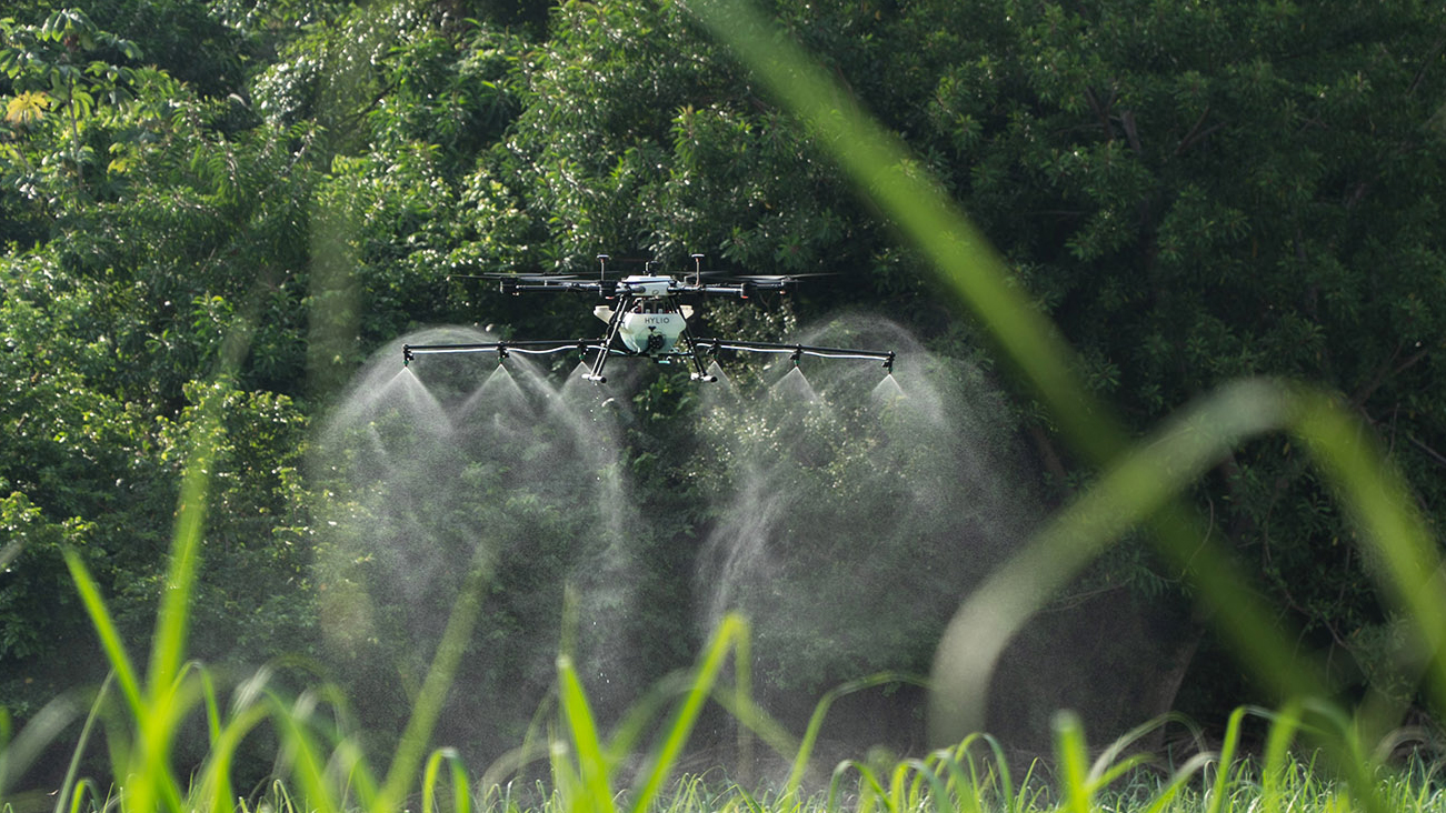 Agricultural Spray Drone Spraying a field