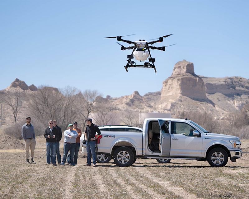 Agricultural Spray Drone in Nebraska Landscape