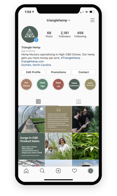 Social media marketing example, an iPhone showcasing Instagram marketing for our client Triangle Hemp.