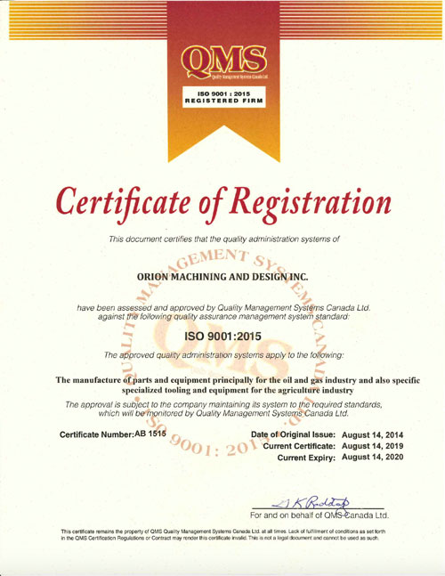 Orion ISO 9001:2015 certificate