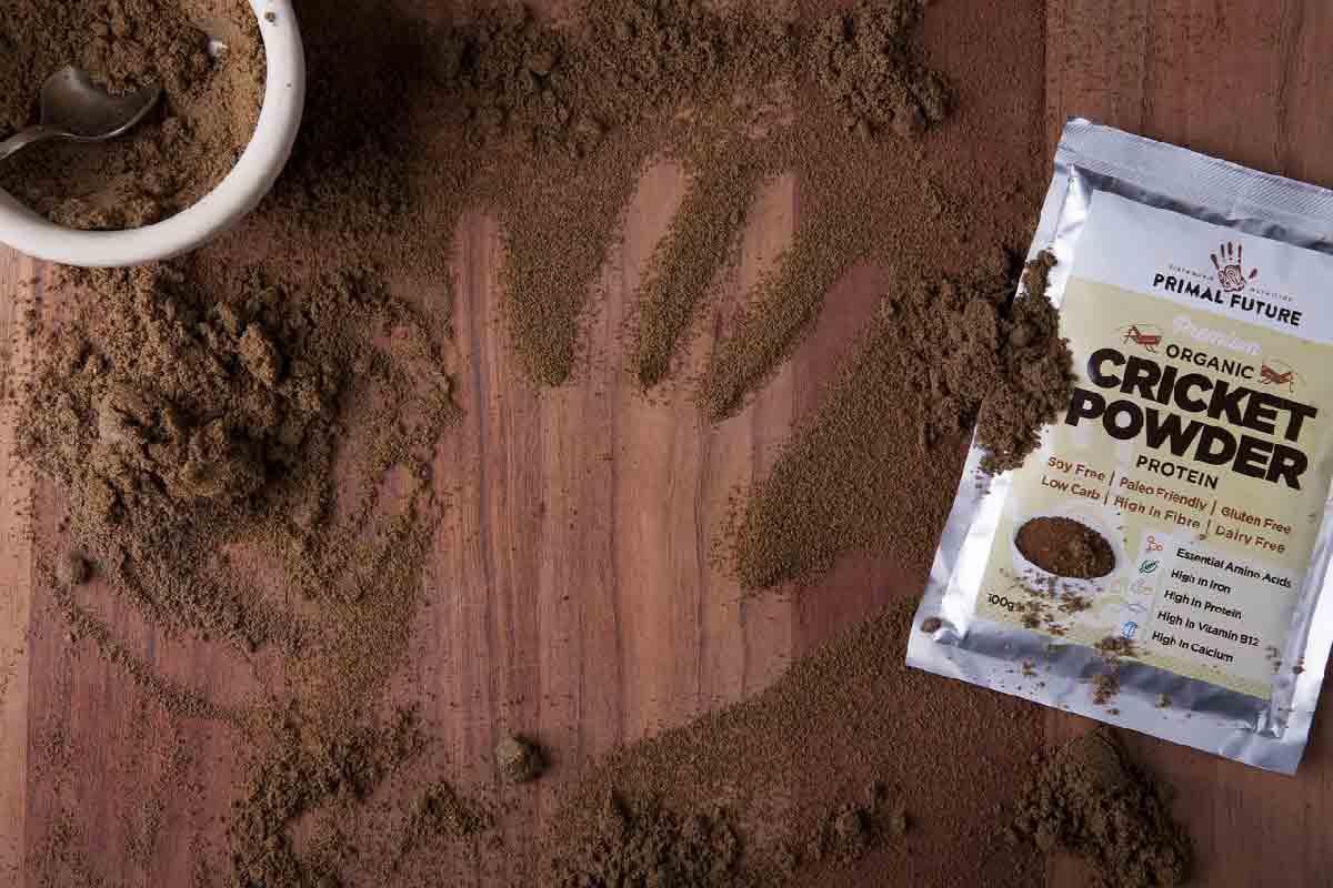 proteine in polvere sparse con orma di una mano