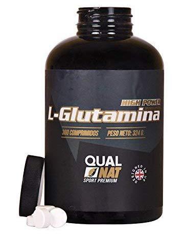 flacone di glutammina in primo piano