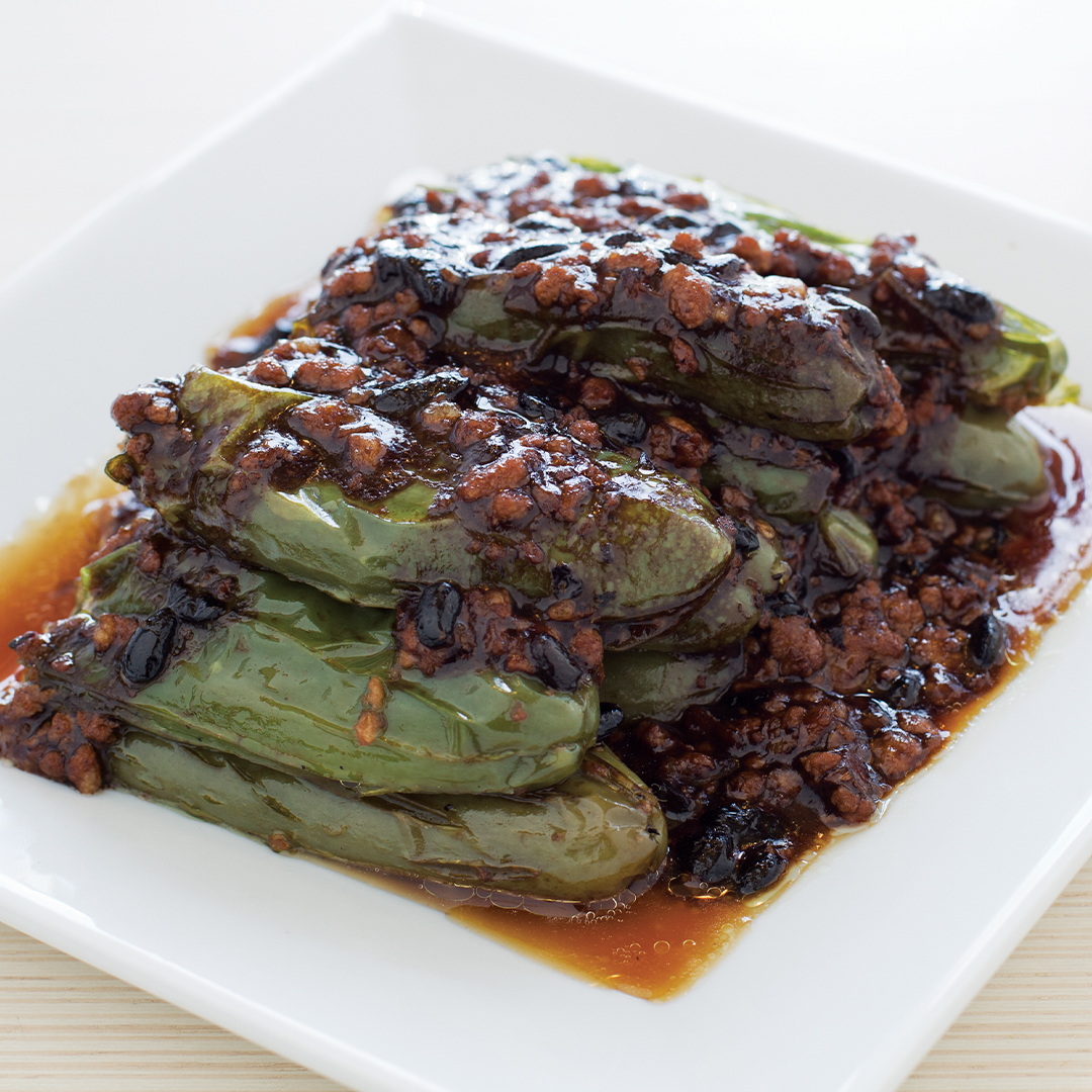Pan-Seared Green Chili Pepper w/ Minced Pork Black Bean Sauce