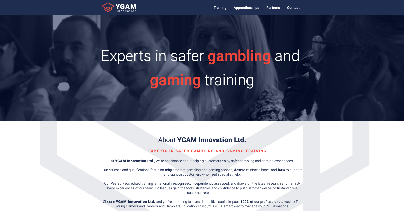 YGAM Innovation home page section