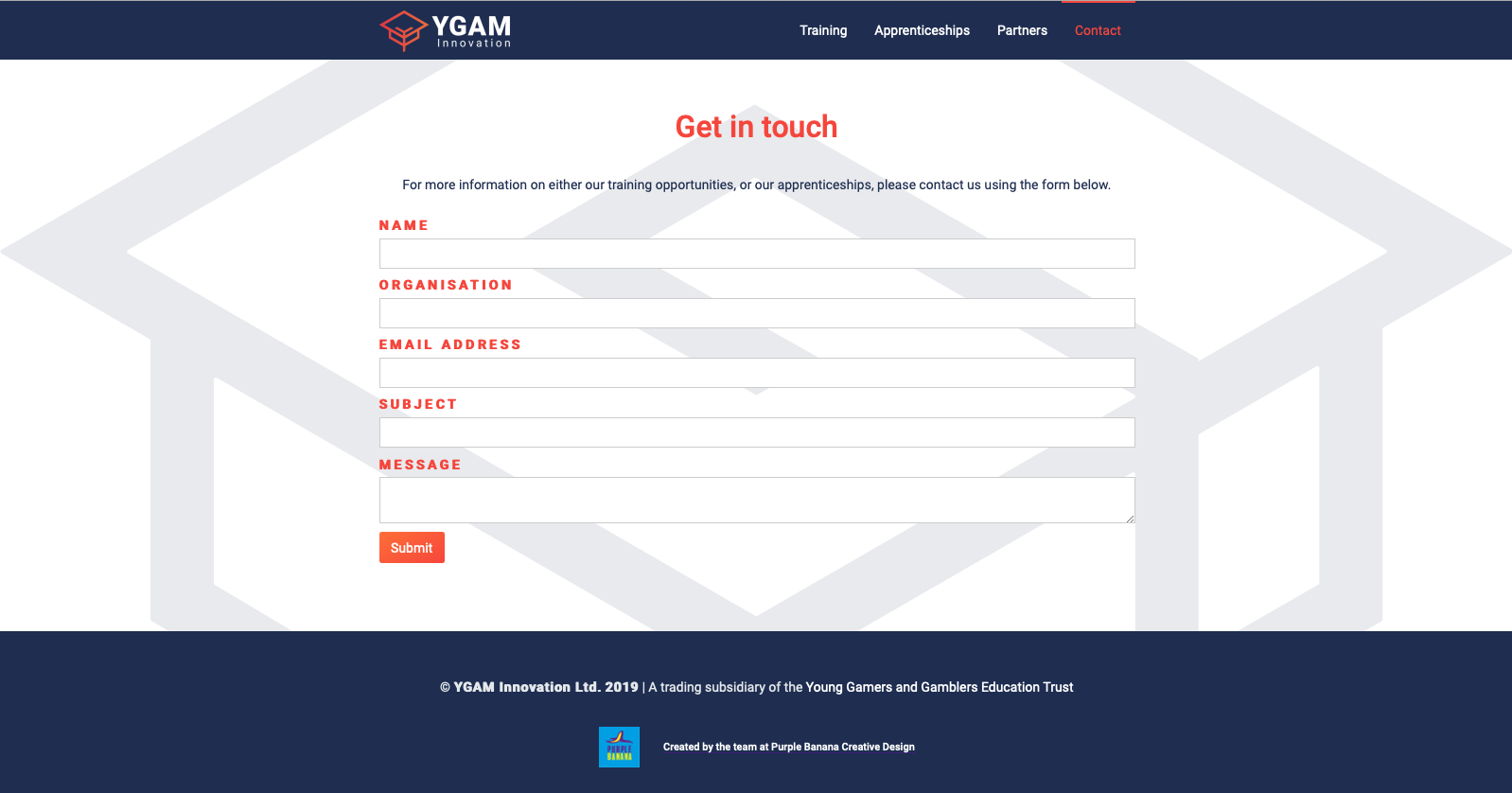 YGAM Innovation website contact us section