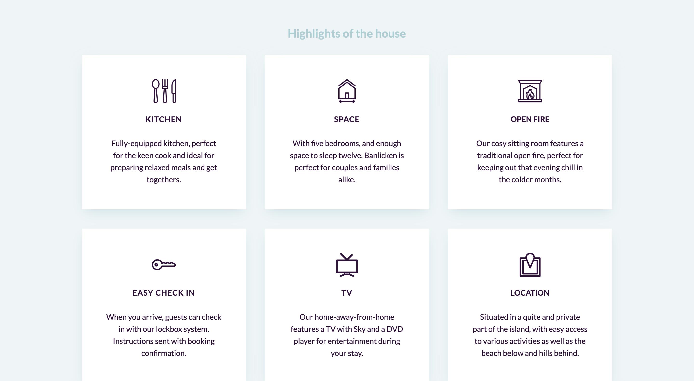 Arran Farmhouse highlights page