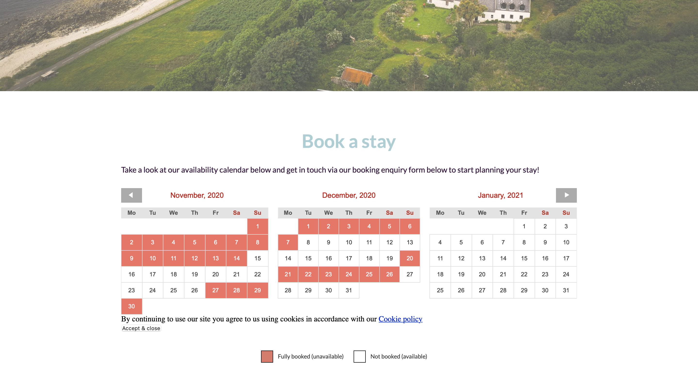 Arran Farmhouse booking page