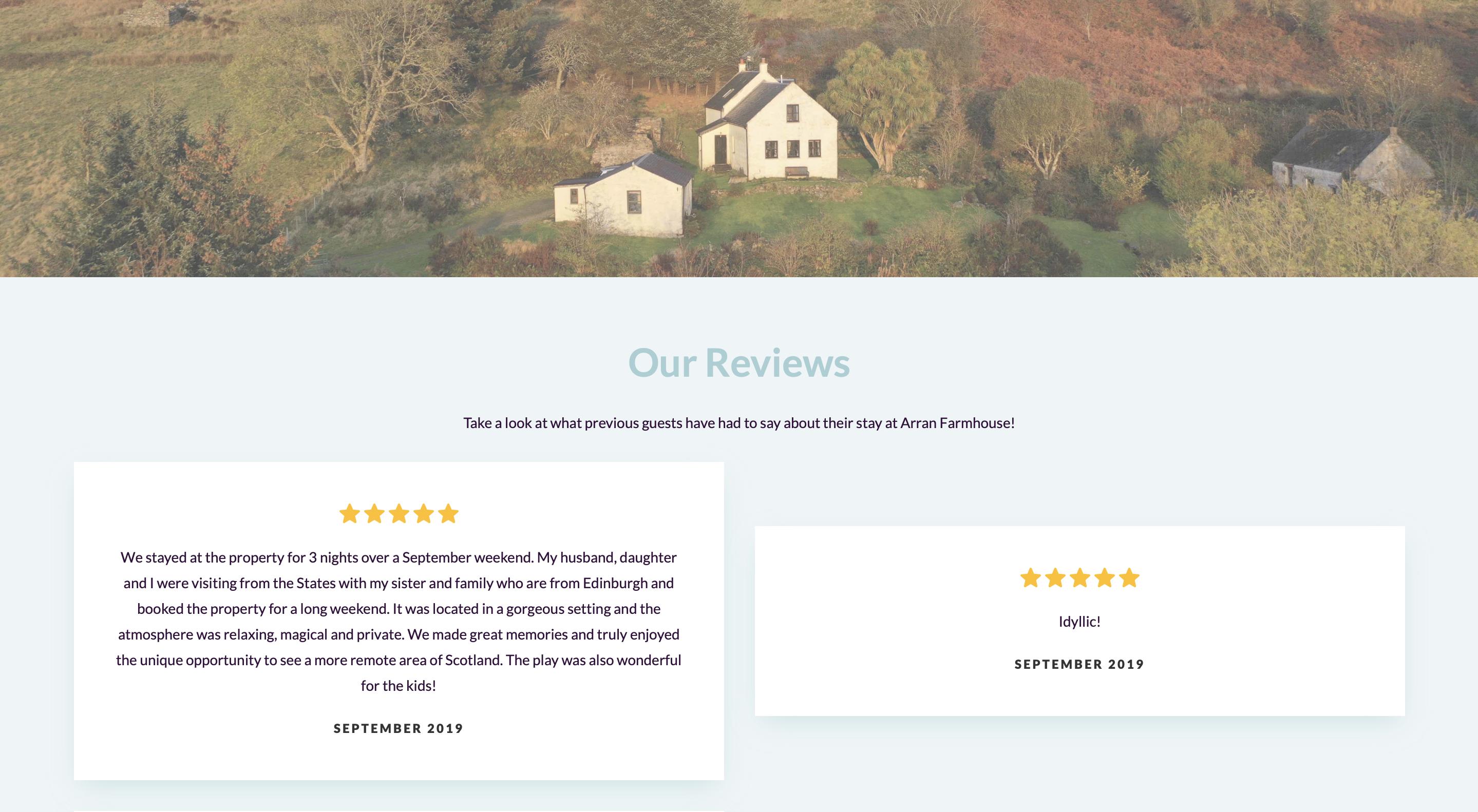 Arran Farmhouse reviews page