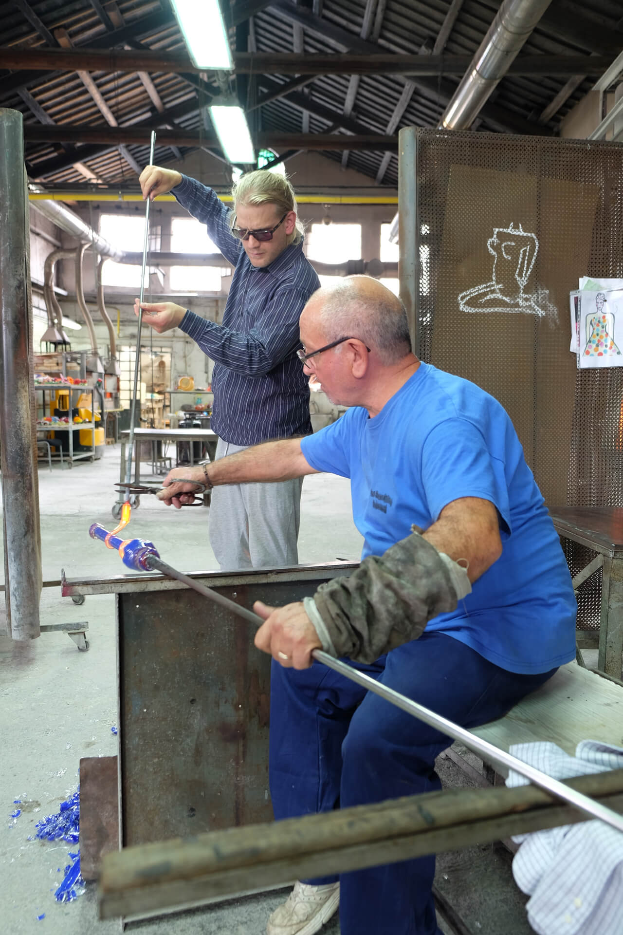 Making glass bambus for Pino Castagna