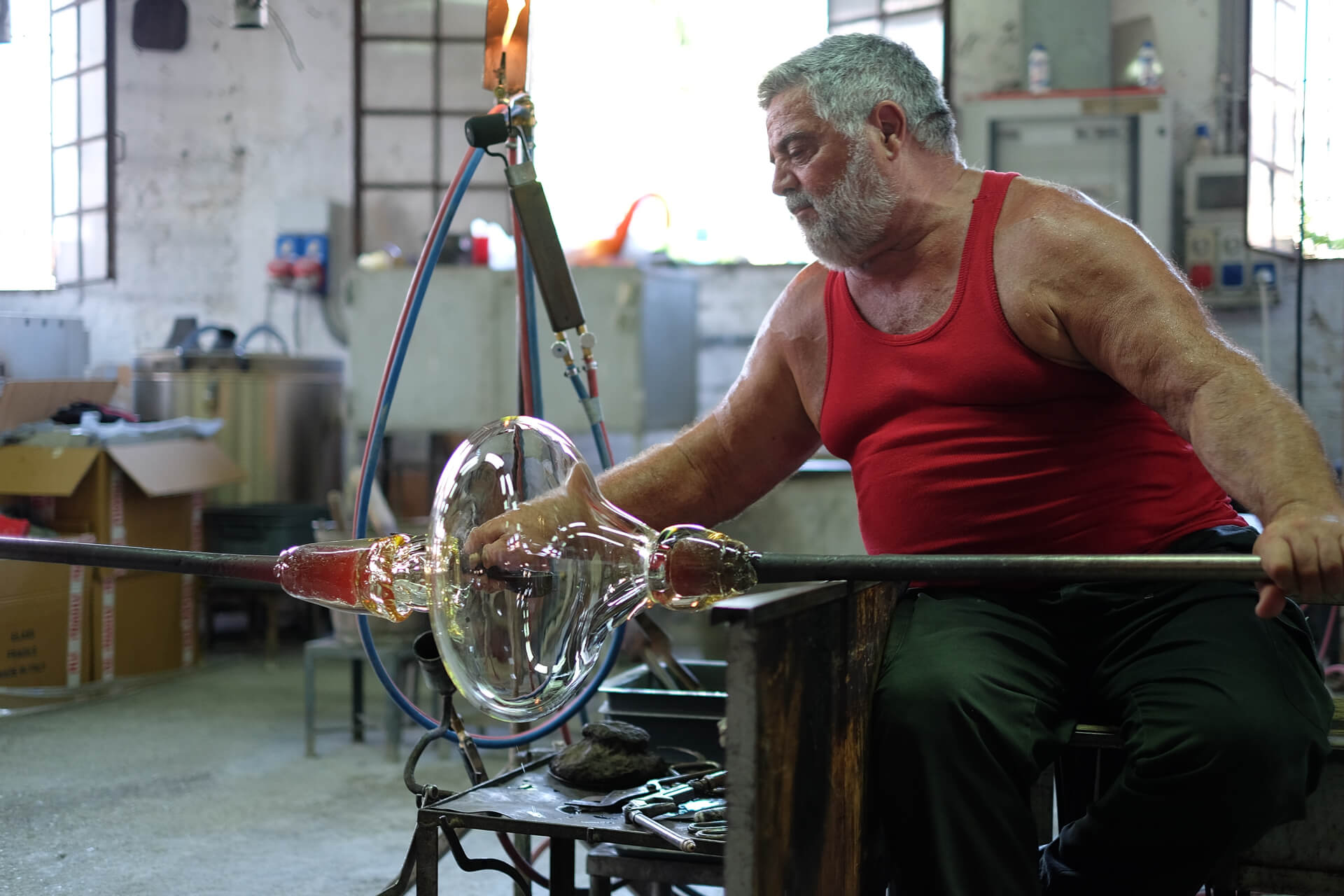 blowing glass, Silvano Signoretto